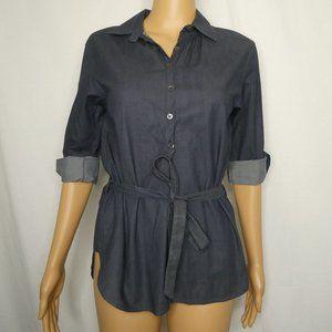 Theory Tab Sleeve Popover Chambray Shirt Ties P XS